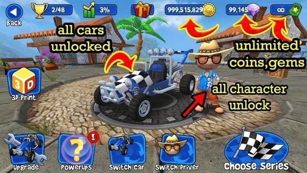 Beach Buggy Racing Triche et Astuces Android / IOS (Gemmes illimitées)
